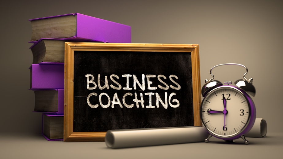 Hand Drawn Business Coaching Concept on Chalkboard.
